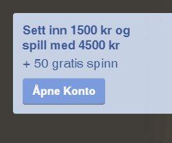 Få 3000 kr og 50 gratis spinn
